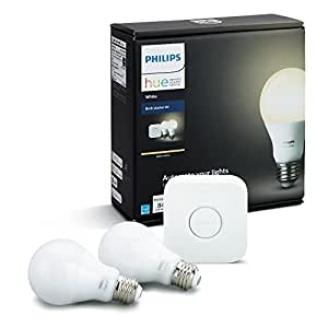 Philips Hue White A19 60W Equivalent Dimmable LED Smart Bulb Starter Kit (2 A19 60W White Bulbs and 1 Hub Compatible with Amazon Alexa Apple HomeKit and Google Assistant)
