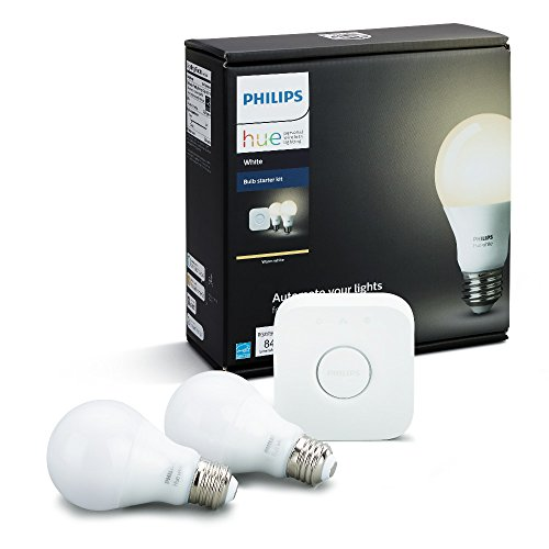 Philips Hue White A19 60W Equivalent Dimmable LED Smart Bulb Starter Kit (2 A19 60W White Bulbs and 1 Hub Compatible with Amazon Alexa Apple HomeKit and Google (Philips Hardware)