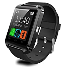 ULTREND U8 Trendy Bluetooth Smart Watch Fit for Smartphones IOS Apple iphone 4/4S/5/5C/5S Android Samsung S2/S3/S4/S5/S6Edge/Note2/Note3 /HTC Sony Blackberry and Other Andriod Phone (BLACK)