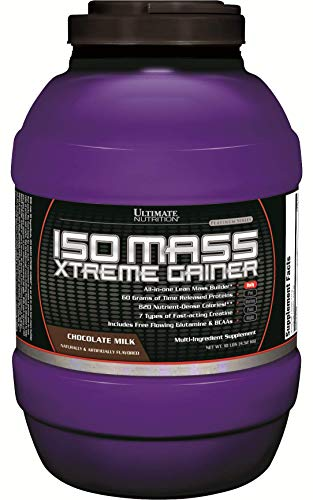 Ultimate Nutrition ISO Mass Xtreme Weight Gainer Protein Isolate Powder with Creatine - Gain Serious Lean Muscle Mass Fast with 60 Grams of Protein, Chocolate, 30 Servings