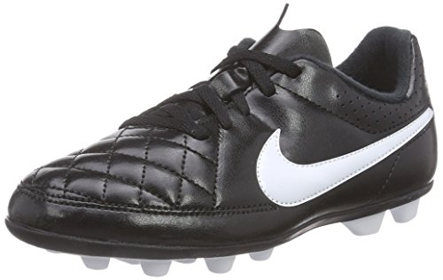 Nike Kids Jr Tiempo Rio II FG-R Black/White Soccer Cleat 10.