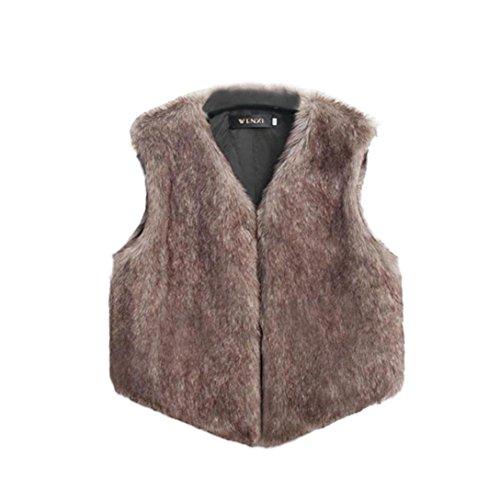 Chaleco sin mangas de las mujeres Chaqueta de abrigo Chaleco de la chaqueta de pelo largo Marrón