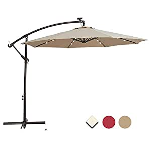 SUNNYARD 10 Ft Solar Powered 24 LED Lights Cantilever Offset Patio Umbrella with Crank, 8 Ribs, Taupe