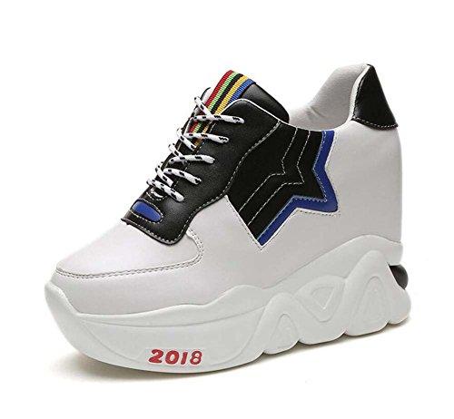 Zapatos atléticos Planos de Mujer Cómodo Zapatos Casuales comodines Negro/Blanco Talla 35-39 Blanco