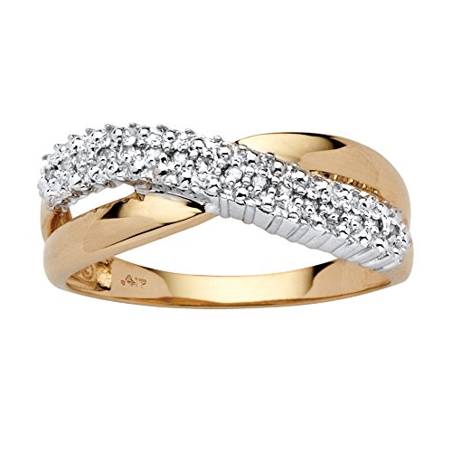 White Diamond Accent 10k Yellow Gold Crossover Ring