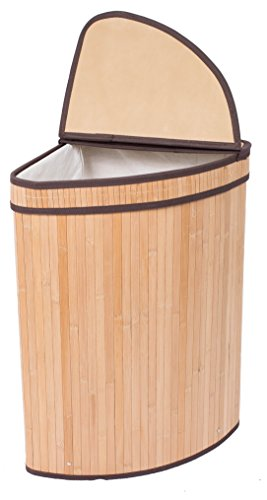 BirdRock Home Corner Laundry Hamper with Lid and Cloth Liner | Bamboo | Natural | Easily Transport Laundry Basket | Collapsible Hamper | String Handles