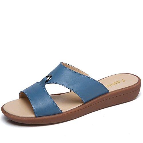 Color Minimalistas Azul; 39 XXM Antideslizantes y Planas Shoes y Suaves Inferior Sandalias Planas Casuales Zapatillas la Mujer Zapatillas Mujer para con para de Parte Sandalias Madre Elegantes wSFw1q4