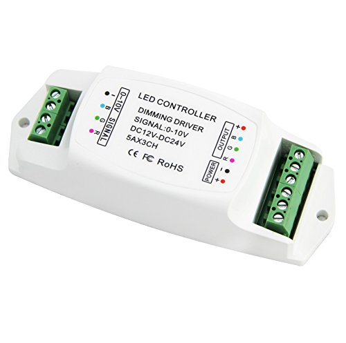 0-10v LED Dimming Controller 0-10V Analog Dimming Signal To Constant Voltage PWM 5A x 3CH RGB (10v Dimmer)