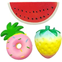 Kayoon Pack of 3 Jumbo Slow Rising Squishies Watermelon Rainbow Strawberry Pineapple Donut Kawaii Scented Fruit Squishies Stress Relief Charms Toy Decorative Large Props