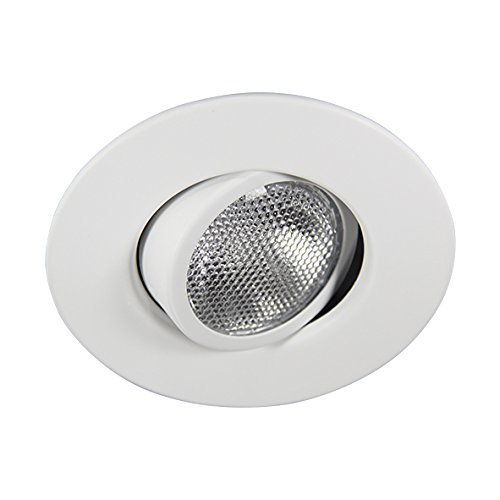 Eco Lighting NY HV4006WH 4-Inch Line Voltage Trim Recessed Light fit Halo/Juno , Adjustable Gimbal Ring, All White - Voltage Adjustable Recessed Trim
