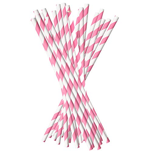 Pink Biodegradable Paper Straws. Compostable Drinking Decorative Striped Straw Set of 100. For Party, Christmas, Birthdays, Baby Shower, Holidays, Crafts, Bridal Shower.Bulk Disposable Cardboard Staws