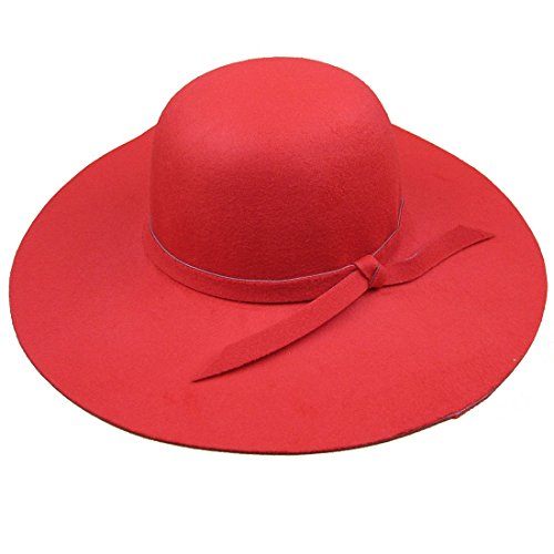 - Dis_show Women Retro Wool Blend Sun Hat Floppy Wide Brim Summer Beach Hat (Bright red)