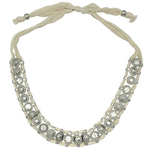 Gypsy Jewels Cream Thread Rhinestone Western Look Bling Pull Knot Ivory Necklace