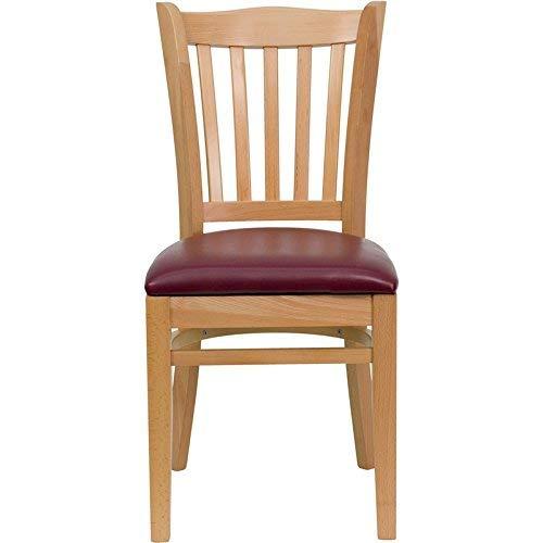 (Flash Furniture HERCULES Series Vertical Slat Back Natural Wood Restaurant Chair - Burgundy Vinyl Seat)