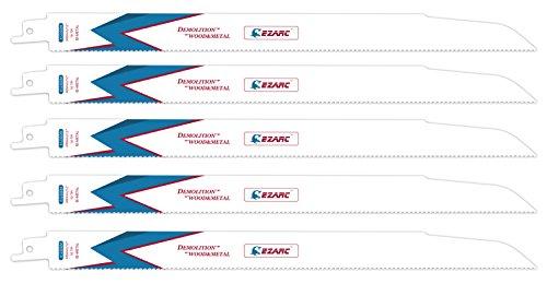 EZARC Reciprocating Saw Blade Wood and Metal Demolition 12-Inch 10TPI R1230DM (5-Pack) (Demolition Reciprocating Blade)