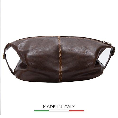 Alberto Bellucci Mens Italian Leather Milano Toiletry Travel Dopp Kit Case in Dark Brown by Alberto Bellucci
