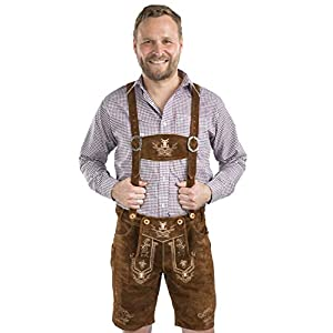 Schöneberger Men's Bavarian Lederhosen Brown – Oktoberfest Leather Trousers