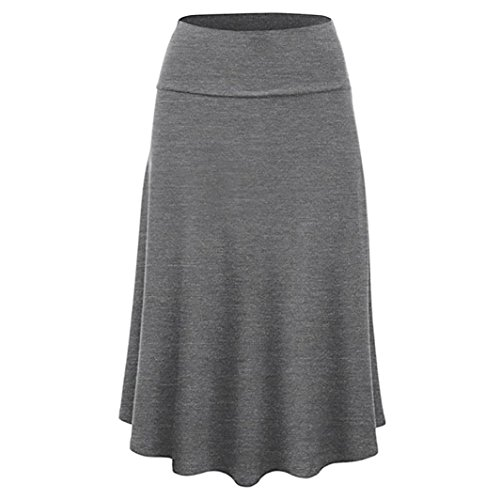 (Skirts for Women's Plus Size Solid Flare Hem High Waist Midi Skirt Sexy Uniform Pleated Skirt Gray)