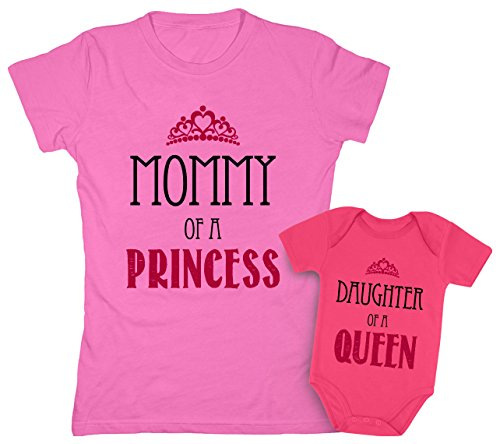 (Mommy of a Princess & Daughter of a Queen Mother & Daughter Matching Set Shirt Bodysuit Clothing Newborn/Women X-Large, Women Pink/Baby Wow Pink)