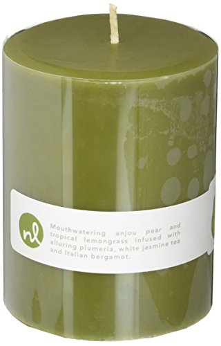Northern Lights Candles Anjou Pear & Lemongrass Fragrance Palette Pillar Candle, 3 x 4