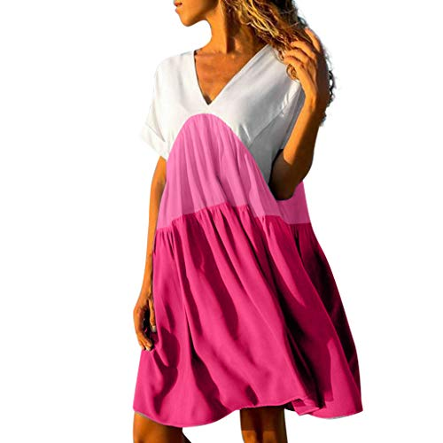 Toponly Short Sleeves Mini Dresses Women Boho V-Neck Summer Patchwork Gradient Color Beach Cover Up Ruffled Loose Dress