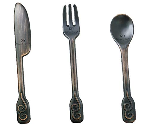 DIY Décor Hub Kitchen Cabinet Handles Oil Rubbed Bronze. Spoon-Fork-Knife 4 Each (12 Total) 96 mm