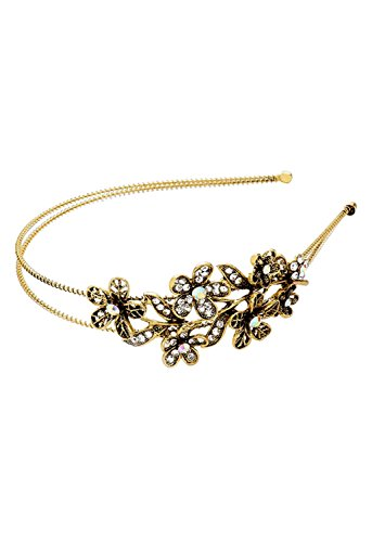 Rosemarie Collections Women's Sparkly Crystal Headband Gold Tone
