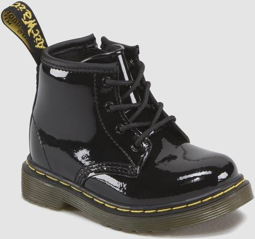 Dr. Martens Brooklee B 4 Eye Lace Boot (Infant),Black Patent,4 M UK/5 M US Infant