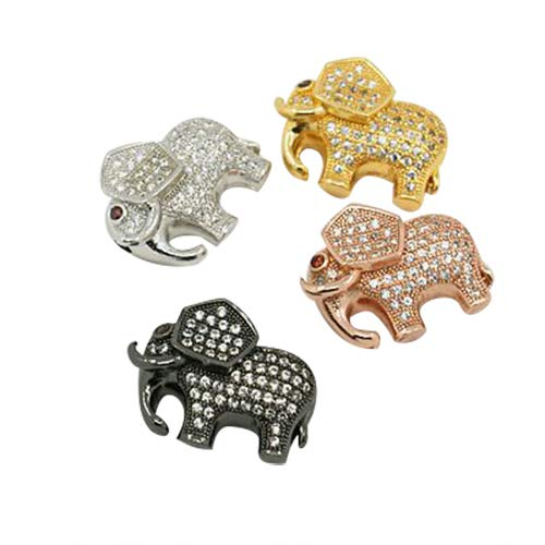 PH PandaHall 10pcs 2mm Elephant Cubic Zirconia Beads Hollow Brass Cubic Zirconia Bead Charms Mixed Color for Jewelry Making Necklaces Bracelets Earrings