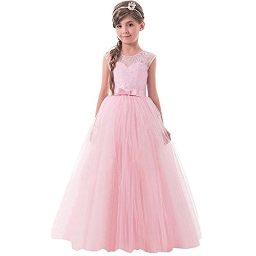 TOOPOOT Children Girls Dress,Bowknot Formal Princess Party Casual Clothes Baby Ballet Outfits (Size:9T-Height:145-150CM, (Baby Pink Cheerleader Dress)