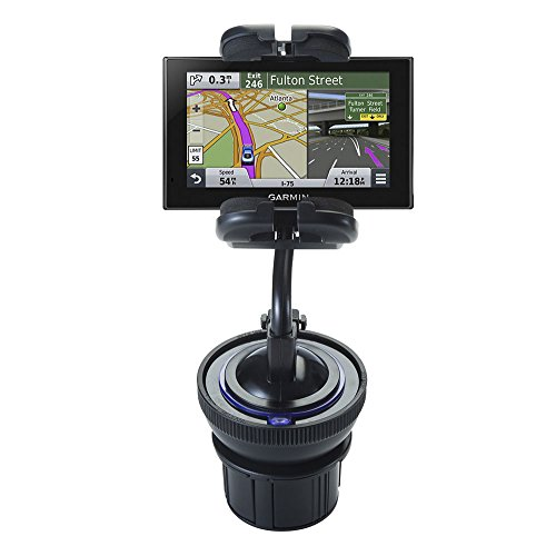 Universal Vehicle Cupholder Adapter with Removable Suction Mount Cradle to Create Windshield Mount for Garmin nuvi 2589 / 2599 LMT
