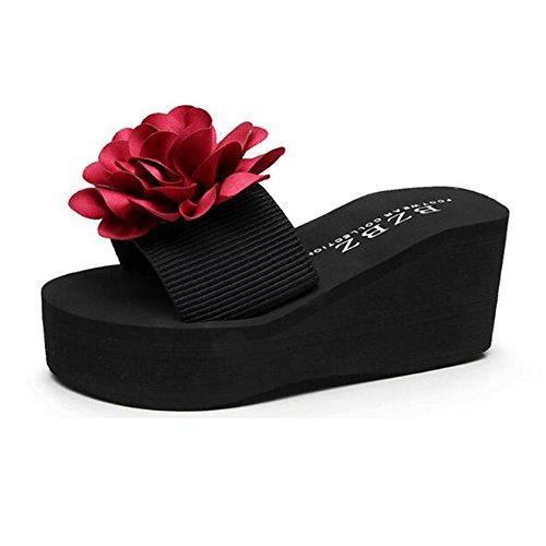 Zapatillas con de Sandalias Tamaño inferior exterior Zapatillas en de Color la de Flores mujeres para gruesas fondo 3 EU39 CN40 vacaciones 5 UK6 para playa Zapatillas 3 parte verano gZYwZvqO