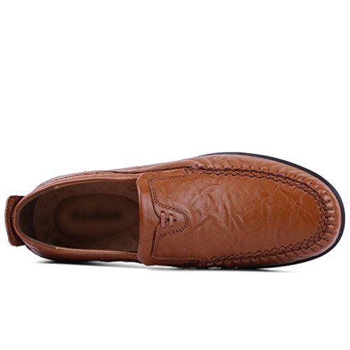 Taglia D'affari Bottone Luce Uomo Yiiquan Scarpes Grande Morbido Uomini Marrone Casual Britannico Stile IYfqa1