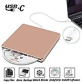 External DVD CD Drive USB3.0 NOLYTH USB C DVD CD Superdrive DVD/CD+/-RW Burner Writer Drive Compatible with Mac/Macbook Pro Air/Laptop/Windows10(Rose Gold)