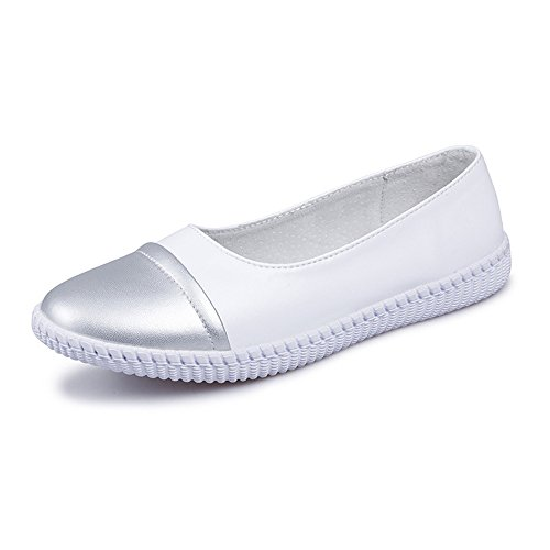 TYAW-Zapatos de Mujer Pisos Super Fibra Hechizo Superficial de Color Suave Boca Abajo White