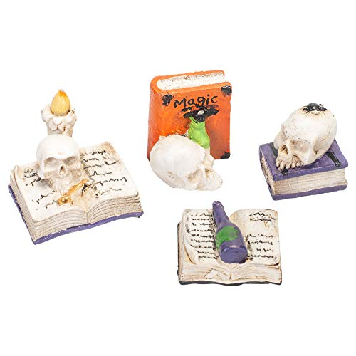 Transpac Imports, Inc. Tiny Magic Spell Book Scribbles 1 inch Resin Stone Halloween Figurine Set of 4 ()