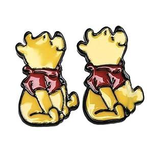 Cartoon Winnie the Pooh Character Metal Enamel Stud Earrings