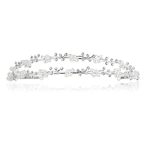 Double Band Vine Berry Flower Bridal Wedding Headband Tiara - Faux Pearls Silver Plating
