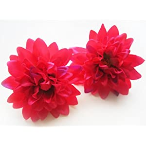 "(4) Hot Pink Silk Dahlia Flower Heads - 4"" - Artificial Flowers Dahlias Head Fabric Floral Supplies Wholesale Lot for Wedding Flowers Accessories Make Bridal Hair Clips Headbands Dress 14"