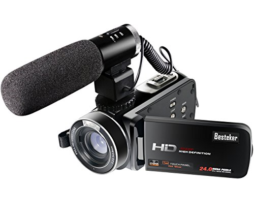 Besteker Wifi Camcorder Full HD 1080P 30FPS Portable Digital Video Camera with External Microphone (HDV-Z20)