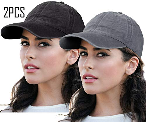 Unisex Women Polo Style Baseball Cap Distressed Sun Hats 100% Cotton Classic Trucker Hat 2Pack-Black&Grey