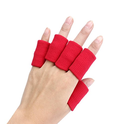 FangDon 10pcs Stretch Basketball Finger Guard Support Sleeves Shooting Protector (Red)