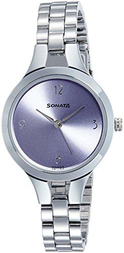 Sonata Women's Fashion Casual Round Purple Dial Silver MetalStrap Watch