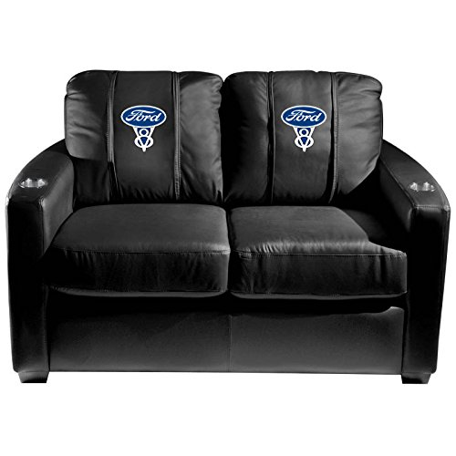 XZipit Silver Loveseat with Ford V8 Logo Panel, Black