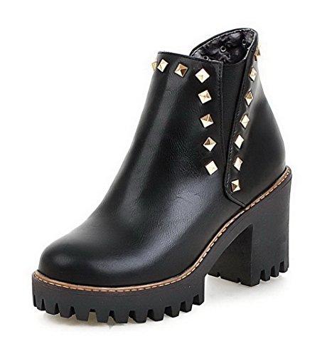 AgooLar Women's Solid PU High Heels Zipper Round Closed Toe Boots with Rivet Black GWiWx4n