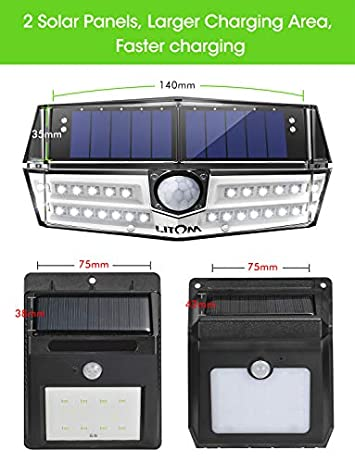 LITOM Premium Solar Lights Outdoor with 270 Wide Angle Illumination 4 Pack , IP67 Waterproof Wireless Solar Motion Sensor Lights,Easy-to-Install Security Lights for Front Door, Yard, Garage, Deck