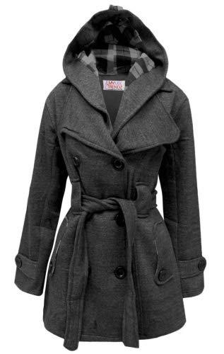 MyMixTrendz- Womens Warm Fleece Hooded Jacket With Belt Coat Top Plus Sizes 8-20 , Charcoal UK 12 EU 40 US 8 L