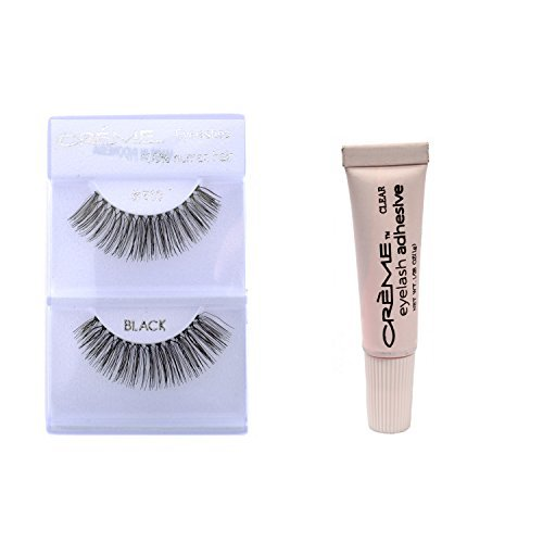(12 Pairs Cr?me 100% Human Hair Natural False Eyelash Extensions Black #510 Natural Long Lashes by Creme)