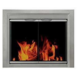 Pleasant Hearth CB-3300 Colby Fireplace Glass Door, Sunlight Nickel by GHP Group -- Drop Ship Only