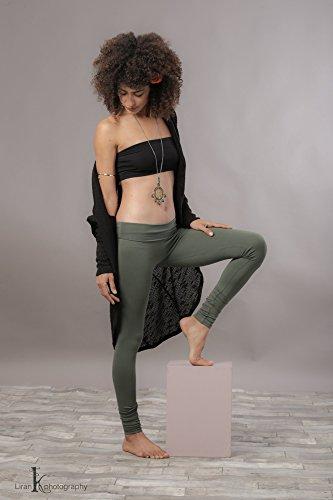 Handmade Olive Green Cotton Adjustable Yoga Long Leggings, Women's Activewear Workout Pants, Boho Fashion Cloths by SamayaFashion